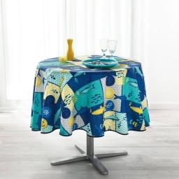 Nappe ronde (0) 180 cm anti tache imprime blue lagoon Marine