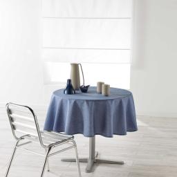 Nappe ronde (0) 180 cm chambray uni enduit newton Bleu
