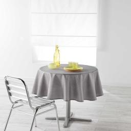 Nappe ronde (0) 180 cm chambray uni enduit newton Gris