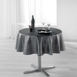 Nappe ronde (0) 180 cm polyester imprime argent palacio Anthracite