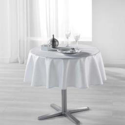 Nappe ronde (0) 180 cm polyester imprime argent palacio Blanc
