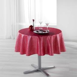 Nappe ronde (0) 180 cm polyester imprime argent palacio Rouge