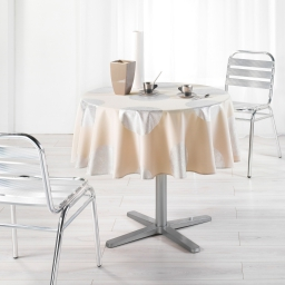 Nappe ronde (0) 180 cm polyester imprime argent platine Lin