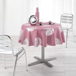 Nappe ronde (0) 180 cm polyester imprime argent platine Rose