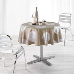 Nappe ronde (0) 180 cm polyester imprime argent platine Taupe