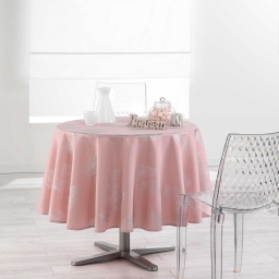 Nappe ronde (0) 180 cm polyester imprime argent plumia Dragee