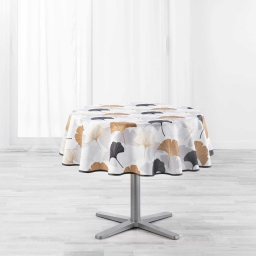 Nappe ronde (0) 180 cm polyester imprime coquetterie Gris