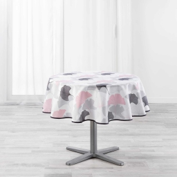 Nappe ronde (0) 180 cm polyester imprime coquetterie Rose