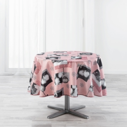 Nappe ronde (0) 180 cm polyester imprime cotina Rose