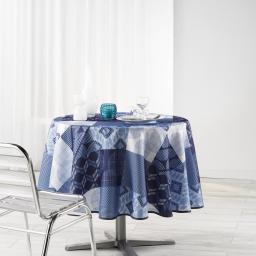 Nappe ronde (0) 180 cm polyester imprime dalea Bleu