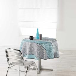 Nappe ronde (0) 180 cm polyester imprime damara Ciel