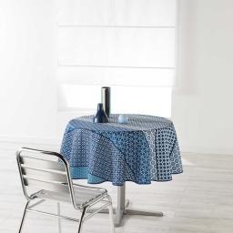 Nappe ronde (0) 180 cm polyester imprime damara Indigo