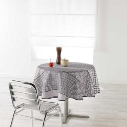 Nappe ronde (0) 180 cm polyester imprime damara Naturel