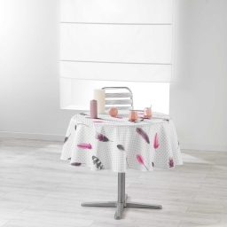 Nappe ronde (0) 180 cm polyester imprime evanescence Blanc