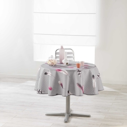 Nappe ronde (0) 180 cm polyester imprime evanescence Gris