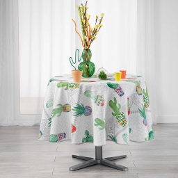 Nappe ronde (0) 180 cm polyester imprime melocactus Blanc