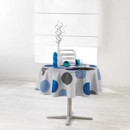 Nappe ronde (0) 180 cm polyester imprime odaly Bleu