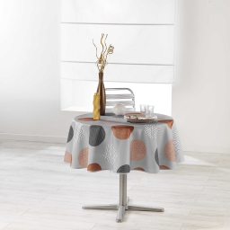Nappe ronde (0) 180 cm polyester imprime odaly Cuivre
