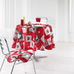 Nappe ronde (0) 180 cm polyester imprime starly Rouge