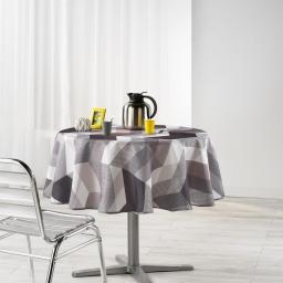 Nappe ronde (0) 180 cm polyester imprime ultragraphic Noir/Blanc