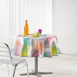 Nappe ronde (0) 180 cm polyester imprime ultragraphic Pastel