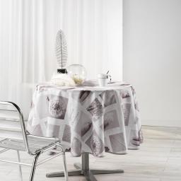 Nappe ronde (0) 180 cm polyester photoprint clarte Blanc