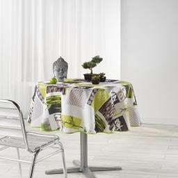 Nappe ronde (0) 180 cm polyester photoprint zanis Blanc