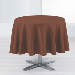 Nappe ronde (0) 180 cm polyester uni punchy Choco