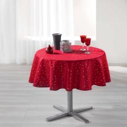 Nappe ronde (0) 180 cm shantung imprime safina Rouge/Argent