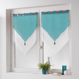New paire pompon passants 2 x 60 x 120 cm voile bicolore azur Blanc/Bleu