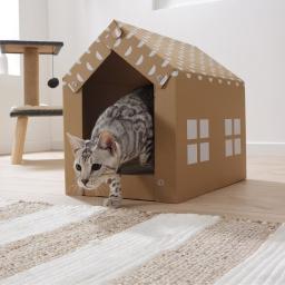 Niche avec griffoir pour chat a personnaliser carton 49*25.5*35.5cm Naturel