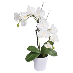 orchidée en plastique 17*h54cm blanche + pot imitation porcelaine blanc