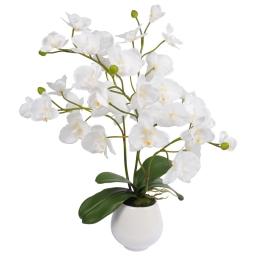 orchidée en plastique 50*h57cm blanche + pot en céramique blanc