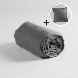 Pack drap housse 1 personne 90x190 +1taie d'oreiller 63x63 polycoton uni actually Anthracite