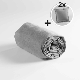 Pack drap housse 160 x 200 cm + 2 taies d'oreiller 63 x 63 point bourdon polycoton couleur Gris