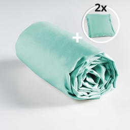 Pack drap housse 2 personnes 140 x 190 + 2 taies 63 x 63 point bourdon Menthe
