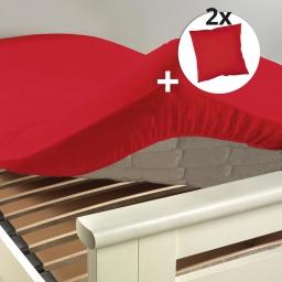 Pack drap housse 2 personnes 160 x 200 + 2 taies 63 x 63 100% coton Coquelicot