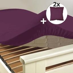 Pack drap housse 2 personnes 160 x 200 + 2 taies 63 x 63 cm 100% coton 57 fils Myrtille