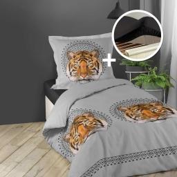 pack Housse de couette 140x200 cm + 1 taie d'oreiller 100% coton (jacana) + 1 drap housse 90x190 noir