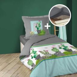 pack Housse de couette 140x200 cm (tropic cactus) + 1 drap housse 90x190  gris souris