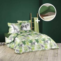 pack Housse de couette 240x220 cm (baghera) +1 drap housse 140x190 vert sapin vert sapin