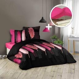 Pack Housse de couette 240x220 cm (Doucéria) + 1 drap housse 140x190 Rose
