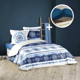Pack housse de couette 260x240 cm bloomabella + drap housse 160 x 200 bleu