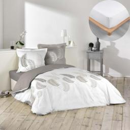 Pack housse de couette Goyave 200x200 cm + drap housse 140x190 Blanc