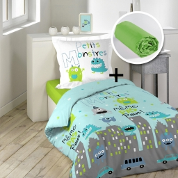 pack parure 1 housse couette 140x200 + 1 to 63x63 petits monstres +1 dh 90x190