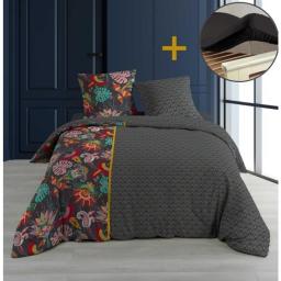 Pack parure 240 x 220 bellarosa + drap housse 140 x 190 cm Noir