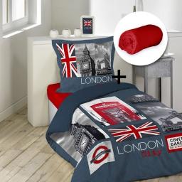 pack parure de couette 140x200 + 1 to 63x63 city london + 1 dh 90x190