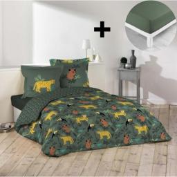 Pack parure de couette 200x200 cm 100% coton Animaux + drap housse 140x190 cm Kaki