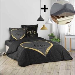 Pack parure de couette 200x200 cm 100% coton Crazy love + drap housse 140x190 cm Gris