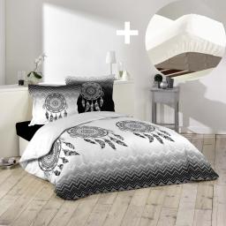 Pack parure de couette 200x200 cm Attrape rêves + drap housse 140x190 Blanc